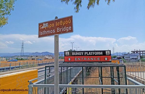 Isthmos Bridge или Истмийский мост через Коринфский канал в Греции