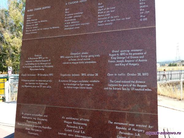 Памятная стела возле Коринфского моста в Греции