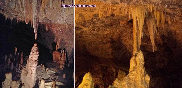 Сталагнаты в пещере Kapsia на Пелопоннесе