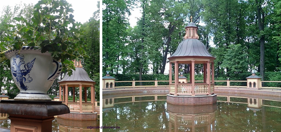 Летний сад в Санкт-Петербурге, пруд и беседка