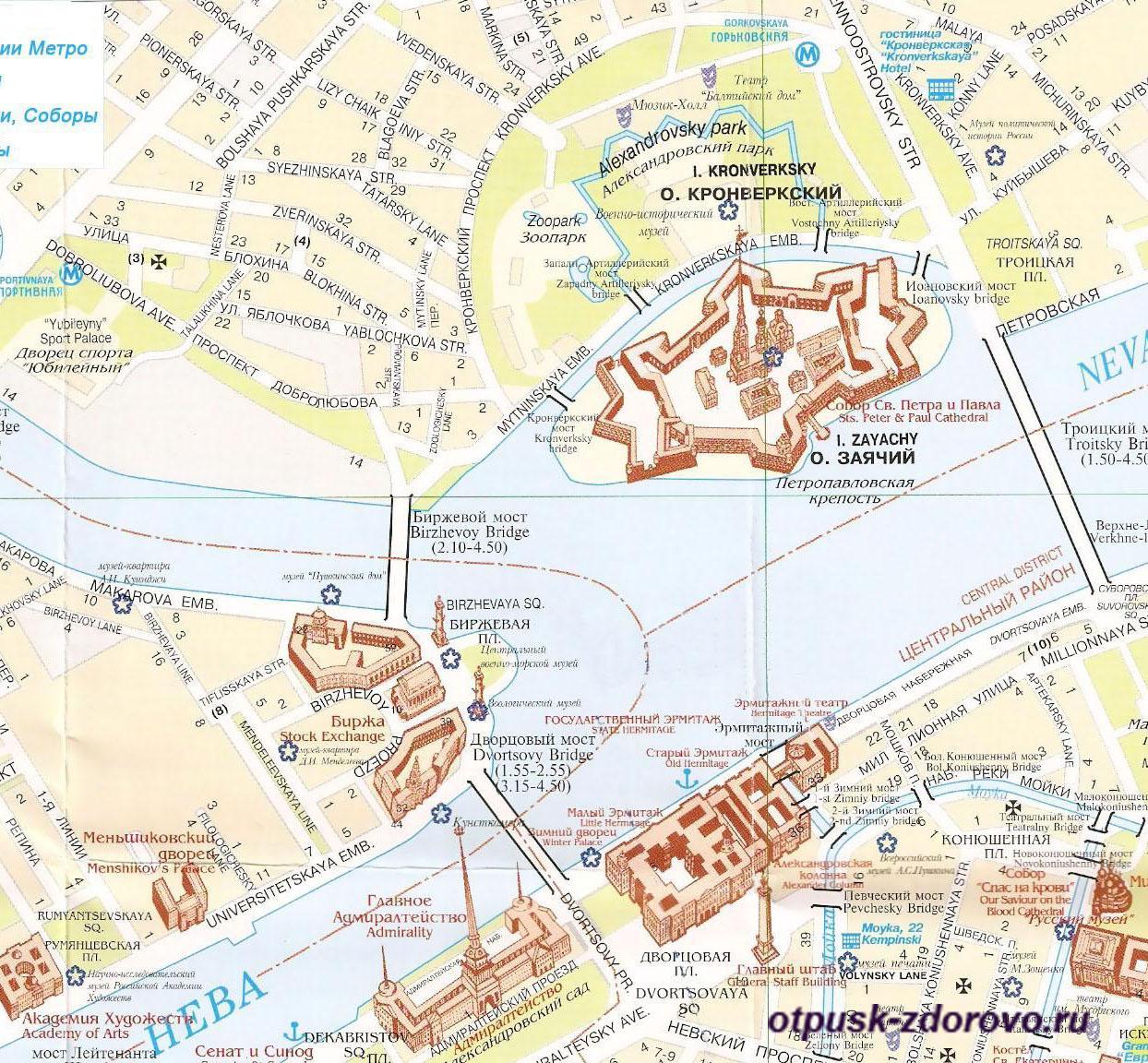 Петропавловская крепость на острове Заячий, карта