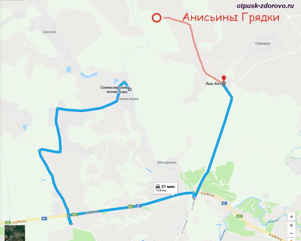 Анисьины грядки-маршрут на карте, как добраться