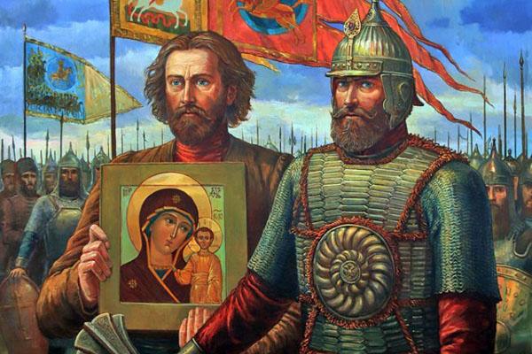 Войска Минина и Пожарского с иконой Казанской Божьей Матери