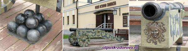 Пушка с ядрами возле музея истории Свияжска