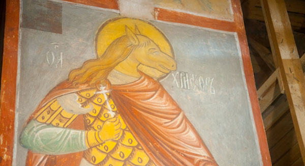 Святой Христофор с головой лошади, фрески Успенского собора, Свияжск