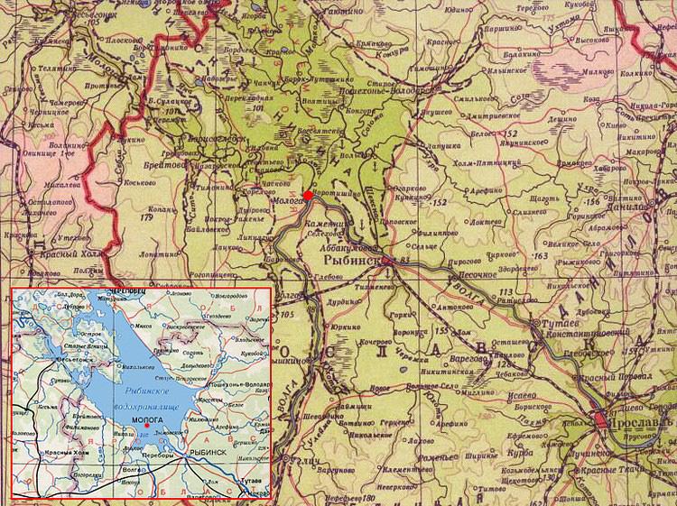 Карта предполагаемого затопления, Затопленный город Молога - Рыбинское водохранилище