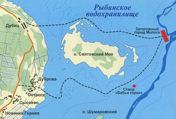 Затопленный город Молога на карте Рыбинского водохранилища
