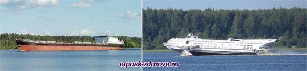 Скоростные катера и баржы в районе Рыбинска