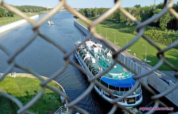 Проход корабля через шлюз, Рыбинская плотина