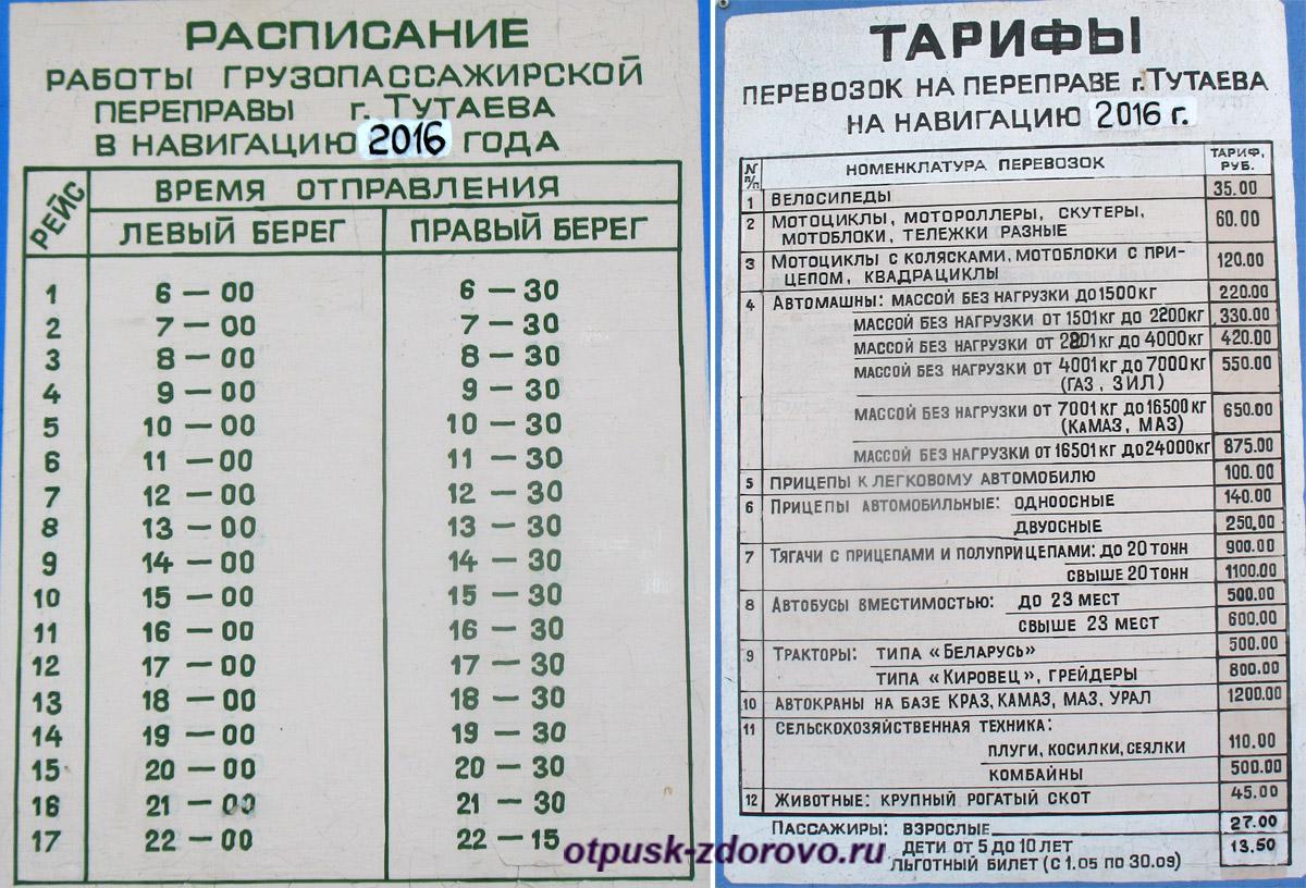 Расписание парома и стоимость проезда, Тутаев