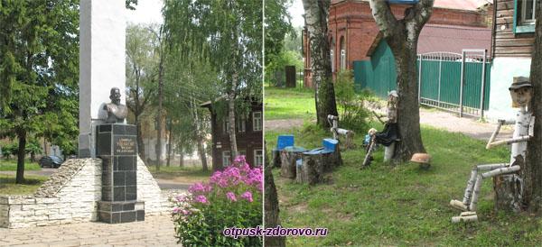 Памятник Ушакову и не только, на левом берегу Тутаева