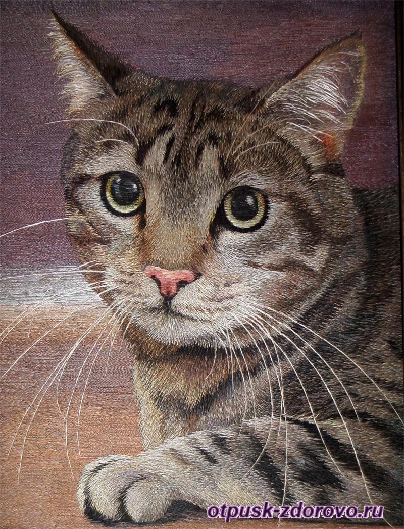 Кошка, вышитая шелковыми нитками, Музей Мыши, Мышкин