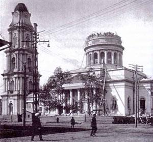 Спасо-Преображенский собор с разобранным куполом в 1935 году, Рыбинск